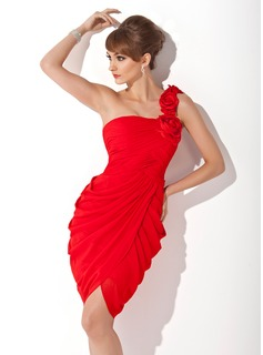 Sheath One-Shoulder Knee-Length Chiffon Cocktail Dress With Ruffle Flower(s) (016005265)