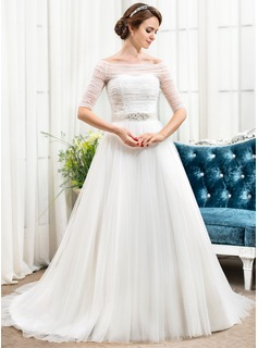 A-Line/Princess Off-the-Shoulder Chapel Train Satin Tulle Wedding Dress With Ruffle Beading Sequins