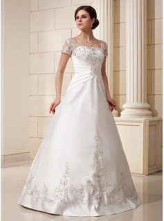 A-Line/Princess Square Neckline Floor-Length Satin Tulle Wedding Dress With Embroidery Ruffle Beadwork Sequins