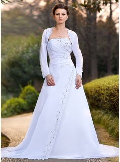 A-Line/Princess Strapless Chapel Train Chiffon Wedding Dress With Ruffle Beadwork Sequins