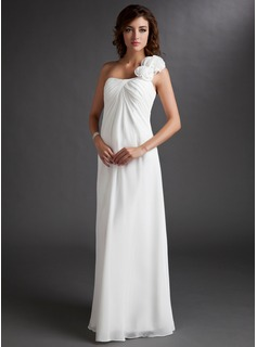 Empire One-Shoulder Floor-Length Chiffon Maternity Bridesmaid Dress With Ruffle Flower