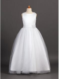 A-Line/Princess Scoop Neck Floor-Length Tulle Charmeuse Junior Bridesmaid Dress With Flower(s) (009022455)