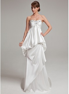 Sheath/Column Sweetheart Court Train Charmeuse Wedding Dress With Ruffle Beading