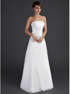 A-Line/Princess Strapless Floor-Length Taffeta Wedding Dress With Ruffle Beadwork