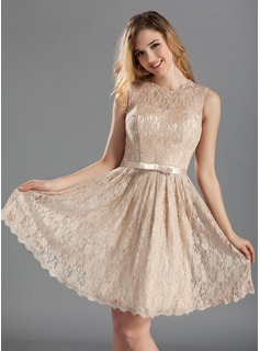 A-Line/Princess Scoop Neck Knee-Length Charmeuse Lace Bridesmaid Dress With Sash (007019660)
