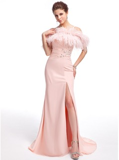 A-Line/Princess Off-the-Shoulder Sweep Train Chiffon Feather Evening Dress With Beading