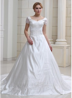 Ball-Gown Sweetheart Chapel Train Organza Satin Wedding Dress With Embroidery Beadwork