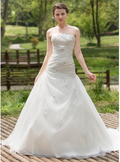 A-Line/Princess Sweetheart Chapel Train Organza Satin Wedding Dress With Ruffle Beading Sequins