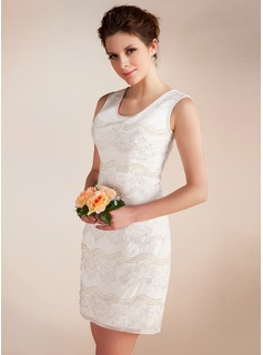 Sheath/Column Scoop Neck Short/Mini Chiffon Wedding Dress With Lace Beadwork
