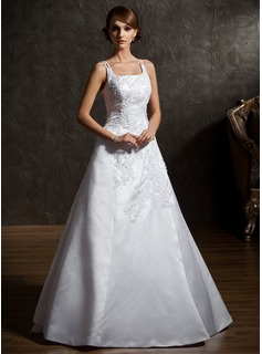 A-Line/Princess Square Neckline Chapel Train Organza Satin Wedding Dress With Lace Beadwork (002012906)