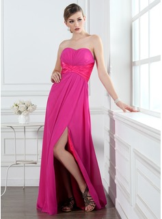 A-Line/Princess Sweetheart Floor-Length Chiffon Charmeuse Holiday Dress With Ruffle Beading