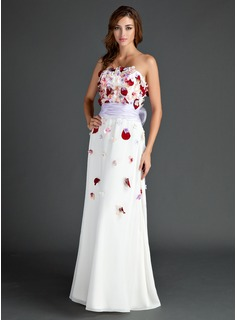 Sheath Strapless Floor-Length Chiffon Prom Dress With Sash Beading Flower(s) (018015562)
