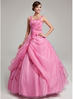 Ball-Gown Floor-Length Organza Quinceanera Dress With Ruffle Lace Beading