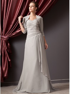 A-Line/Princess Sweetheart Court Train Chiffon Mother of the Bride Dress With Ruffle Beading