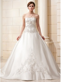 Ball-Gown Sweetheart Cathedral Train Satin Wedding Dress With Embroidery Beadwork