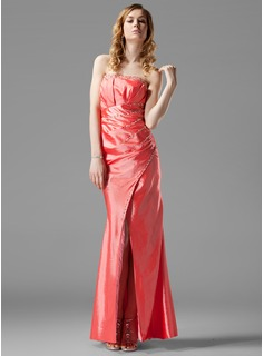 Sheath Strapless Floor-Length Taffeta Evening Dress With Ruffle Beading (017004317)