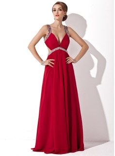 A-Line/Princess V-neck Floor-Length Chiffon Prom Dress With Ruffle Beading Sequins (018004792)