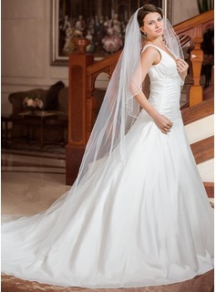 One-tier Chapel Bridal Veils With Beaded Edge