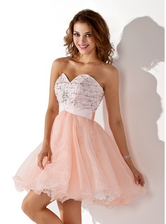 A-Line/Princess Sweetheart Short/Mini Organza Satin Homecoming Dress With Beading Sequins
