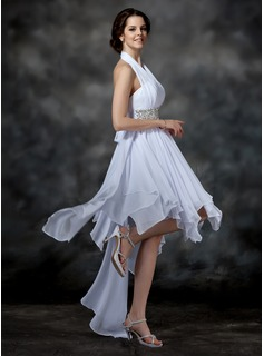 A-Line/Princess Halter Asymmetrical Chiffon Homecoming Dress With Beading Sequins Bow(s) Cascading Ruffles