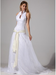 A-Line/Princess Halter Court Train Organza Satin Wedding Dress With Sashes (002004777)