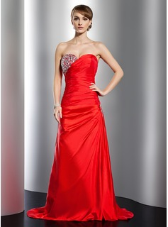 Sheath Sweetheart Sweep Train Taffeta Holiday Dress With Ruffle Beading
