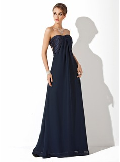 Empire Sweetheart Floor-Length Chiffon Charmeuse Evening Dress With Ruffle