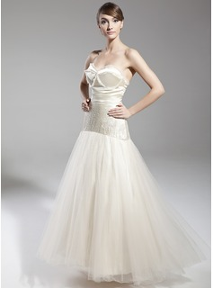 A-Line/Princess Sweetheart Floor-Length Satin Tulle Holiday Dress With Beading Bow(s)
