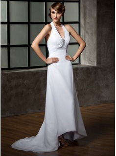 A-Line/Princess Halter Asymmetrical Chiffon Wedding Dress With Ruffle Beadwork Sequins