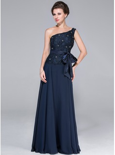 A-Line/Princess One-Shoulder Floor-Length Chiffon Charmeuse Lace Mother of the Bride Dress With Beading Bow