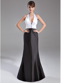 Sheath Halter Sweep Train Charmeuse Evening Dress With Ruffle Beading