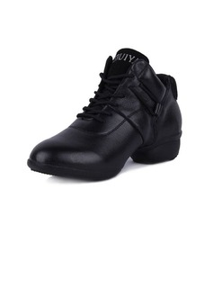 Women's Real Leather Sneakers Practice With Lace-up Dance Shoes