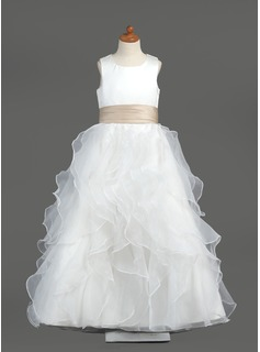 A-Line/Princess Scoop Neck Floor-Length Organza Satin Flower Girl Dress With Sash (010005799)