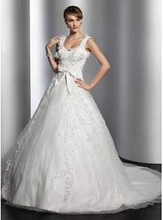 Ball-Gown Sweetheart Chapel Train Satin Tulle Wedding Dress With Lace Flower(s) Bow(s)