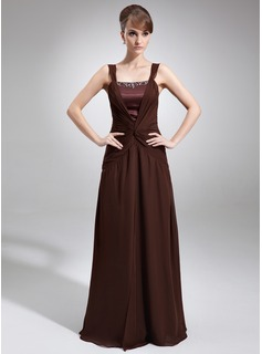 A-Line/Princess Square Neckline Floor-Length Chiffon Charmeuse Mother of the Bride Dress With Ruffle Beading