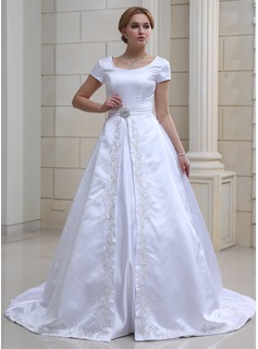 Ball-Gown V-neck Chapel Train Satin Wedding Dress With Embroidery Crystal Brooch