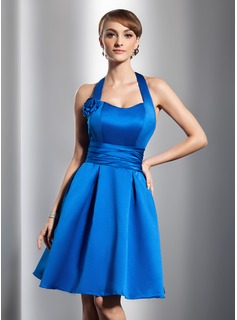 A-Line/Princess Halter Knee-Length Satin Homecoming Dress With Ruffle Flower