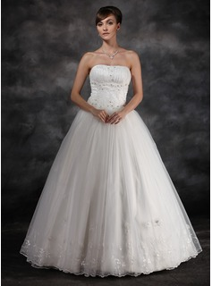 Ball-Gown Strapless Floor-Length Organza Charmeuse Wedding Dress With Ruffle Lace Beadwork (002016939)