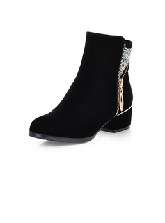 Suede Low Heel Ankle Boots With Zipper shoes