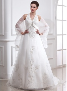 A-Line/Princess Halter Court Train Organza Satin Wedding Dress With Embroidery Beadwork