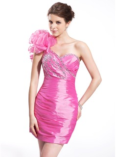Sheath One-Shoulder Short/Mini Taffeta Organza Cocktail Dress With Ruffle Beading