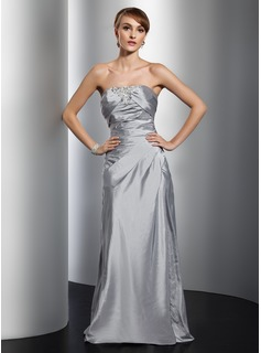 Sheath Strapless Floor-Length Taffeta Evening Dress With Ruffle Lace Beading