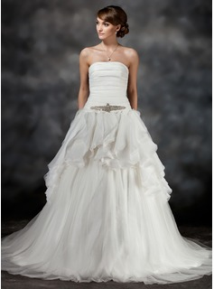 Ball-Gown Strapless Chapel Train Satin Tulle Wedding Dress With Beading Cascading Ruffles