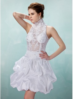 A-Line/Princess High Neck Short/Mini Taffeta Tulle Cocktail Dress With Ruffle Lace Beading