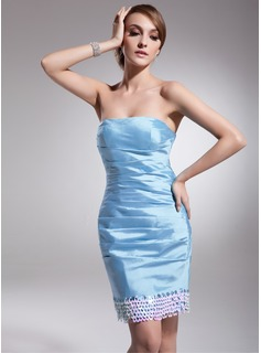 Sheath Strapless Short/Mini Taffeta Cocktail Dress With Ruffle Sequins