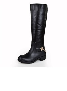 Real Leather Low Heel Knee High Boots With Chain shoes