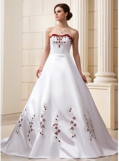 Ball-Gown Sweetheart Cathedral Train Organza Satin Wedding Dress With Embroidery Beading Sequins