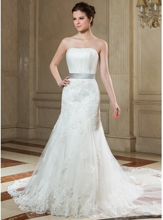 Mermaid Strapless Chapel Train Satin Tulle Wedding Dress With Ruffle Lace Sash Beadwork