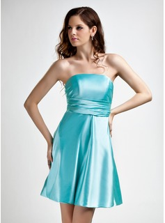 A-Line/Princess Strapless Short/Mini Charmeuse Bridesmaid Dress With Ruffle Bow