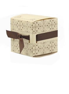 Elegant Cubic Favor Boxes With Ribbons (Set of 12)